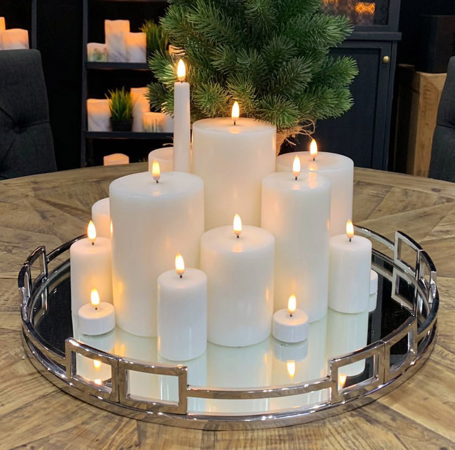 Uyuni Flameless Candle Collection on Silver Tray