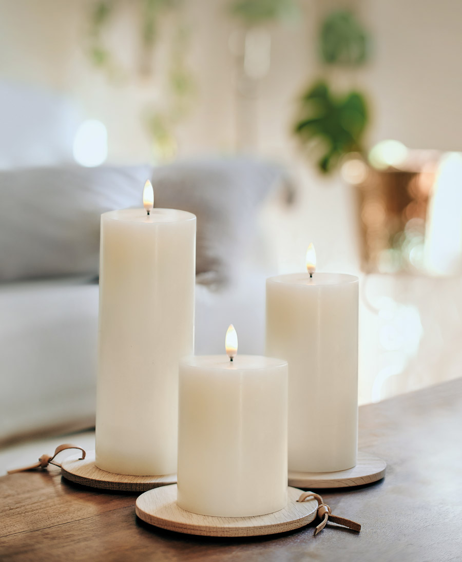 Uyuni Lighting Flameless Pillar Candles Three Sizes