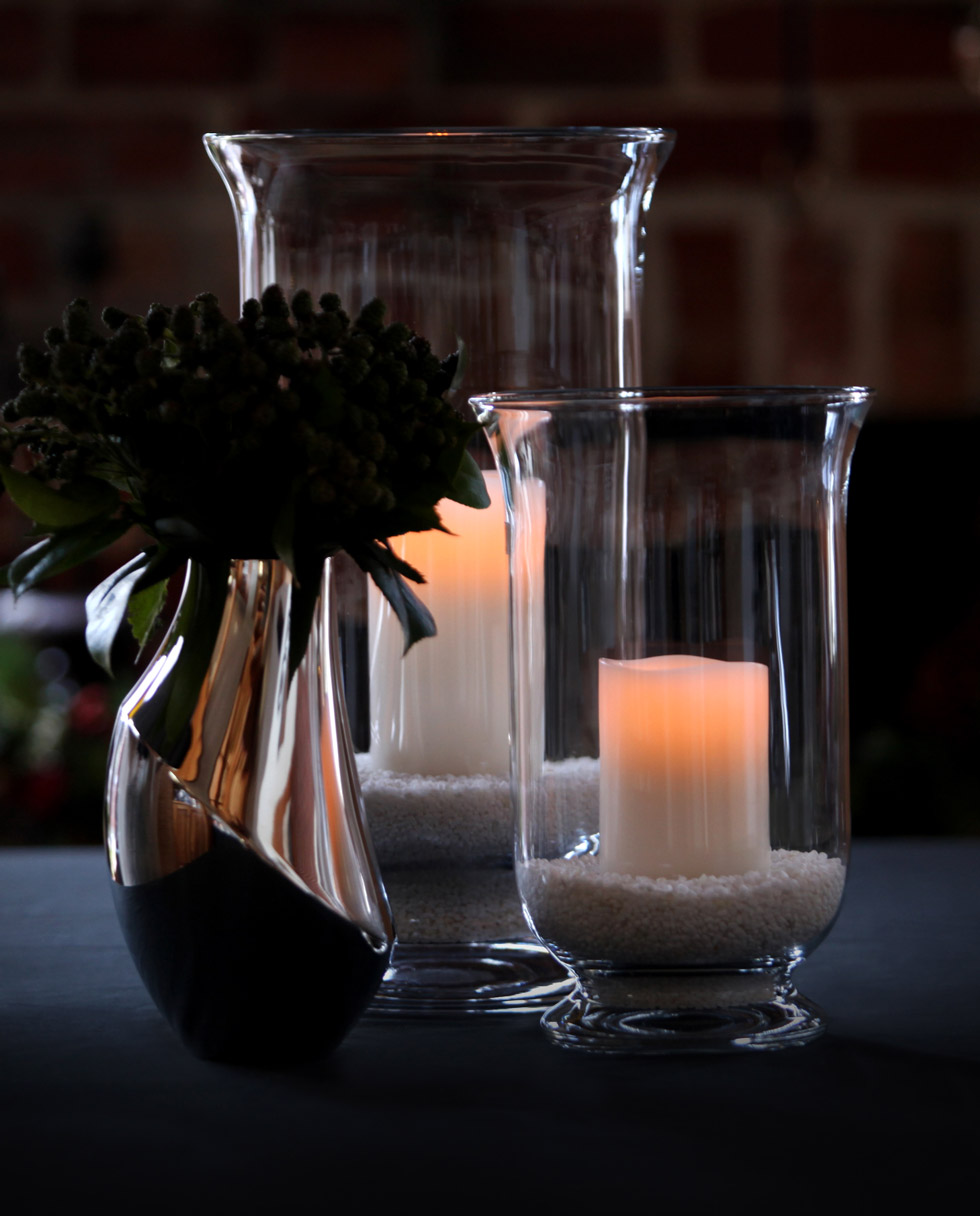 Enjoy Living Flameless Candles in a Hurricane Vase