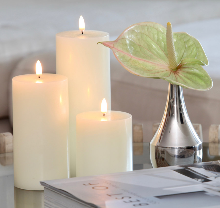 Uyuni Tri Pillar Candles Real Wax Flameless